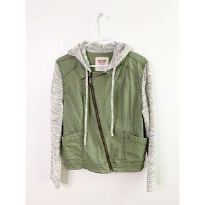 Mossimo Marled Sleeve Hooded Twill Utility Jacket